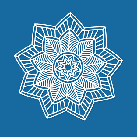 Vector snowflake. Laser Cutting template for greeting cards, envelopes, invitations, interior elements. Vector xmas paper cutting ornamental panel. Die cut card. 向量圖像
