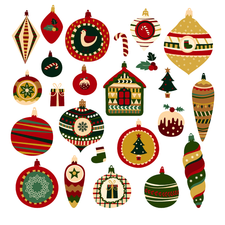 Set of color doodle Christmas balls and New Year symbols. Colorful isolated icons. Illustration for t-shirts, banners, greeting card, flyers and other types of business design. Illustration
