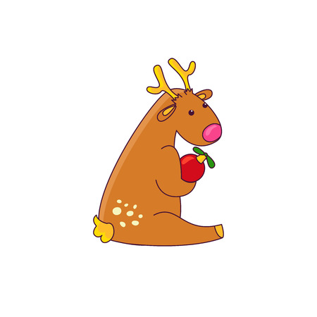 Vector illustration of a reindeer christmas character. Isolated on white background Illustration
