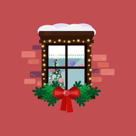 Christmas and new year window with lights garland and decoration. Vector illustration 向量圖像