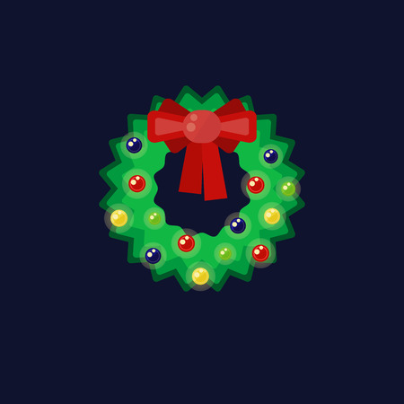 Christmas wreath with color light garland and red bow on dark blue background.