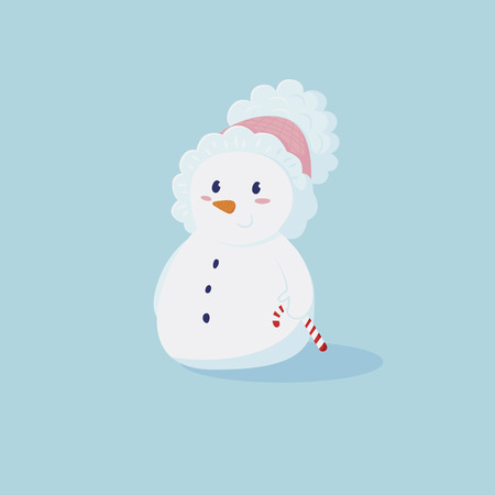 ?ute little snowman in pink hat with a small Candycane in hand. Vector cartoon illustration
