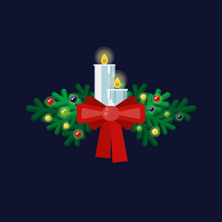 Christmas vector illustration with fir branches, candles, garland and a red bow on a dark blue background. Illustration