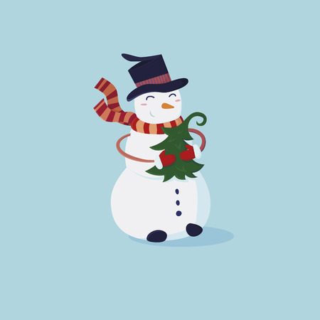 ?ute snowman in a hat and striped scarf with a small Christmas tree in hand. Vector cartoon illustration Illustration