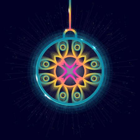 Vector glowing christmas ball. Design prints for t-shirts, posters, flyers, postcards. Illustrations in bright neon colors