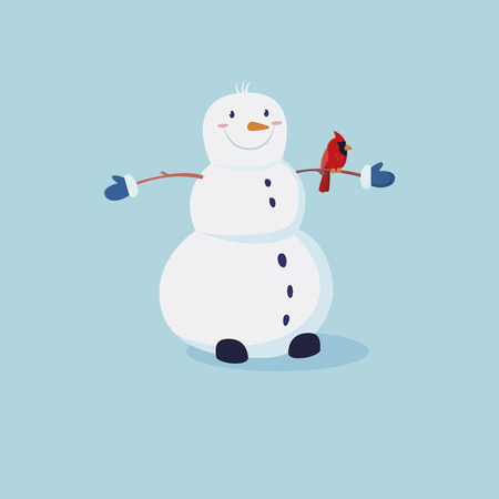 Cute snowman in a hat and striped scarf with a small Christmas tree in hand. Vector cartoon illustration