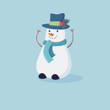 Cute snowman in red hat and scarf.