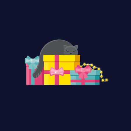 Gray animal sleeping on Christmas gifts.