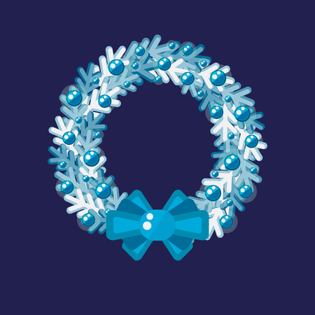 Christmas wreath with color light garland and blue bow on dark blue illustration.
