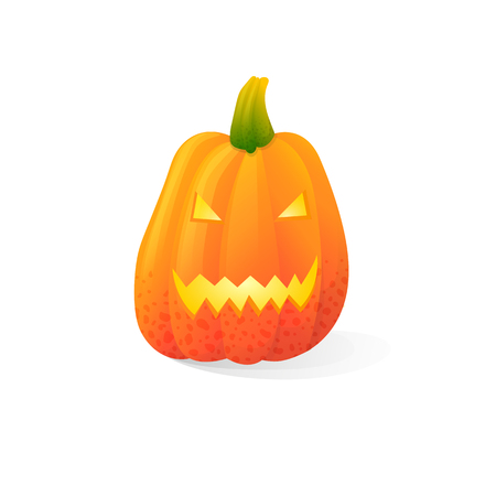 Vector halloween scary Jack o lantern pumpkins isolated on white background. With candle light inside