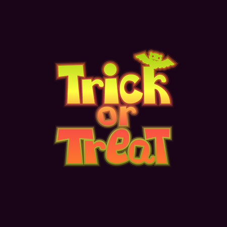 Trick or treat lettering with a bat. Happy halloween gradient logo on a dark background. For halloween party invitation, poster, banner, card. Vector illustration.