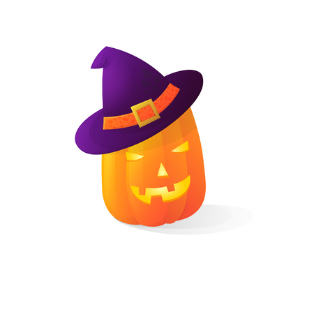 Vector halloween scary witch pumpkins isolated on white background. With candle light inside