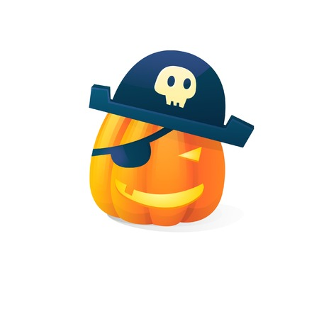 Vector halloween scary pirate pumpkins isolated on white background. With candle light inside Illustration