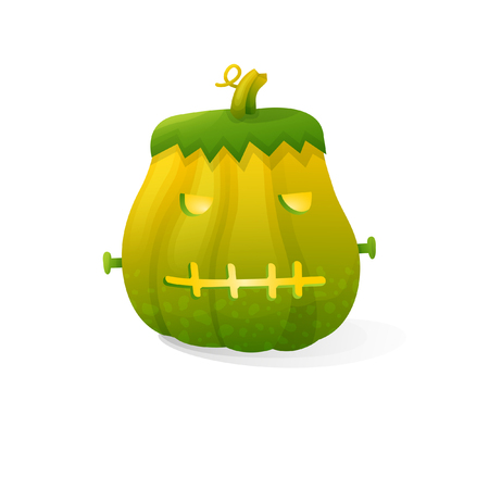 Vector halloween scary Frankenstein pumpkin isolated on white background. With candle light inside Illustration