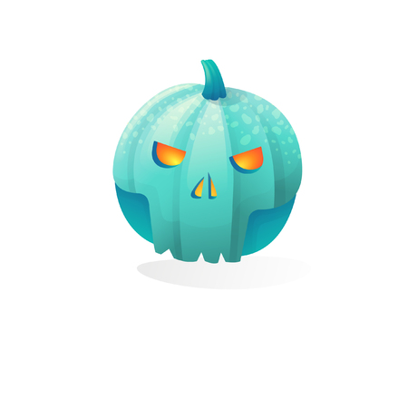 Vector halloween scary skull pumpkin isolated on white background. With candle light inside
