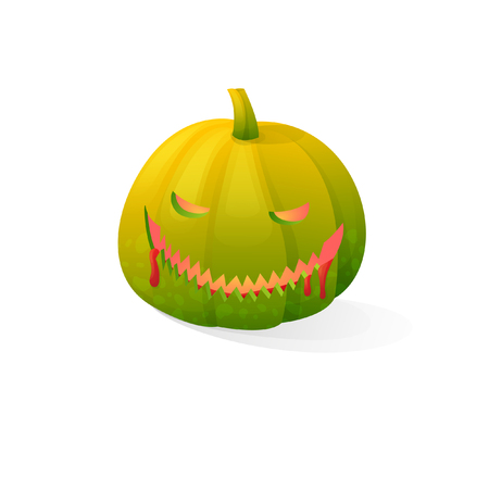 Vector halloween scary green bloody pumpkin pumpkin isolated on white background. With candle light inside Illustration
