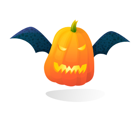 Vector halloween scary bat pumpkin isolated on white background. With candle light inside