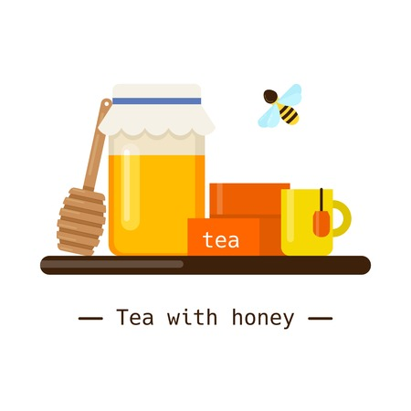 Beekeeping vector concept with different items. Modern flat style vector. tea with honey illustration. Apiary concept. Standard-Bild - 113340398