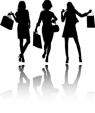 Beautiful shopping girls, vector silhouettes