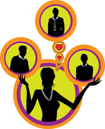 rich couple: Situation in love relations (a love triangle) vector illustration