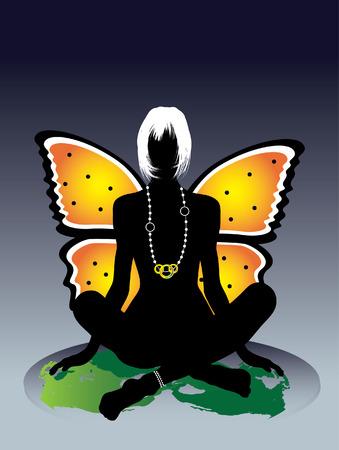 femme papillon: Fairy sexy glamour, assis dans la nuit. Illustration