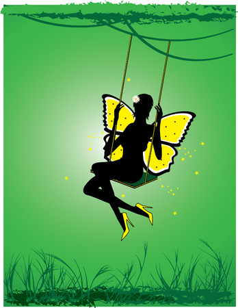 Sexl fairy shakes on a swing in the forest Illustration