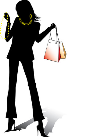 Beautiful shopping girl, vector silhouette