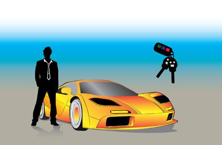 sportcar: Young successful Businessman outside sportcar and car keys