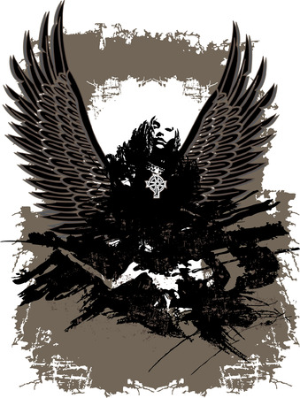 Mystic dark fallen Angel vector illustration Illustration