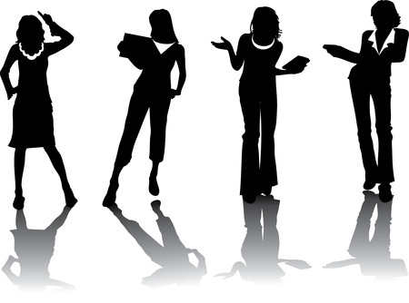 Business woman vector silhouettes Vector