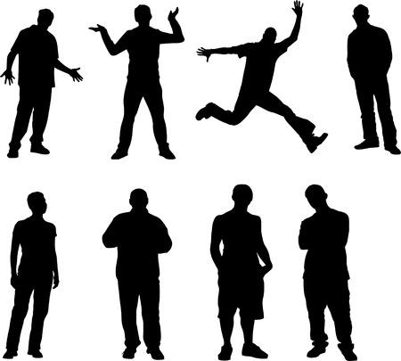 urban youth: boys vectors sillhouettes 8 pics Illustration