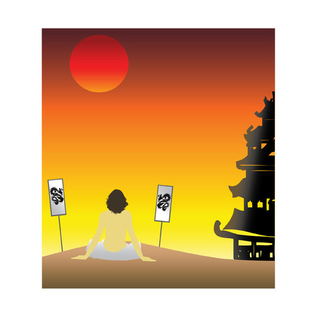 Asian sunset, monk sits on sand and meditates Vector