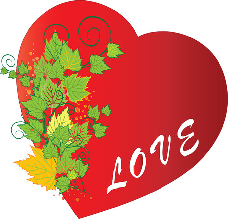 Autumn and red grunge heart with love Vector