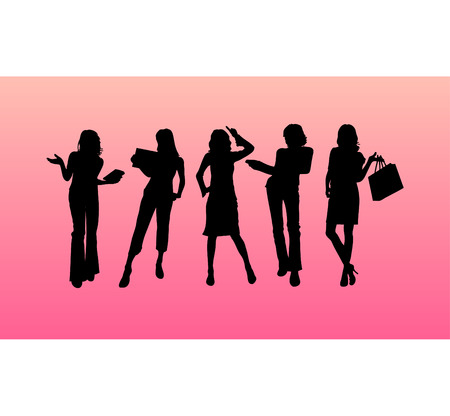 Business woman vector silhouettes Stock Vector - 4254302