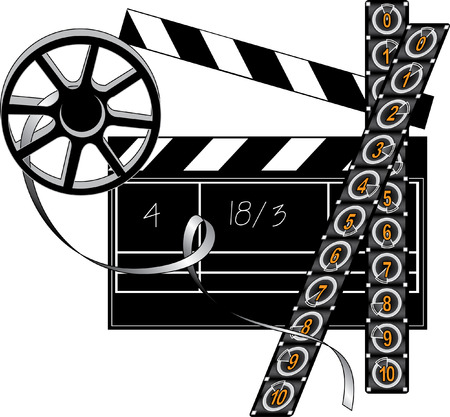 Vector filmmaker stuff: movie clapper board, film strip and retro reel Vector