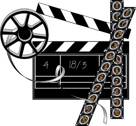 Vector filmmaker stuff: movie clapper board, film strip and retro reel Vector