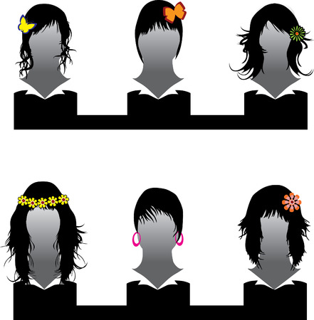 Vector set of hair style ornate samples for woman Stock Vector - 4254296