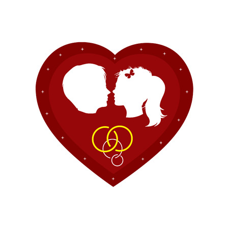 Couple loving boy and girl in big red heart (vector banner) Vector