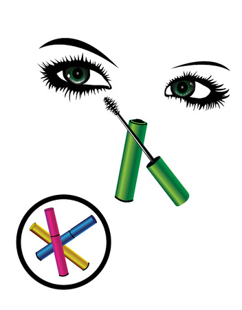 Beautiful eyes and womans makeup Illustration
