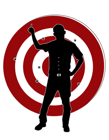 fearless: Fearless man stay at target and show middle finger Illustration