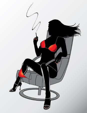 Luxury woman in red bikini relax and smoking