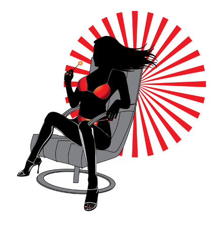 Luxury woman with sweet in red bikini