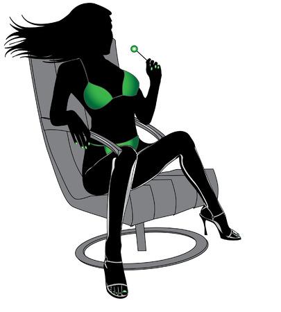 Femme sexy avec doux en bikini vert Banque d'images - 4254359