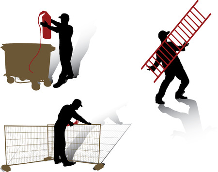 Workers vector silhouettes collection Illustration