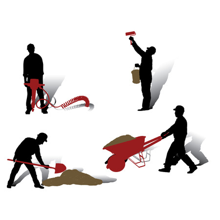Workers vector silhouettes collection Stock Vector - 4254365