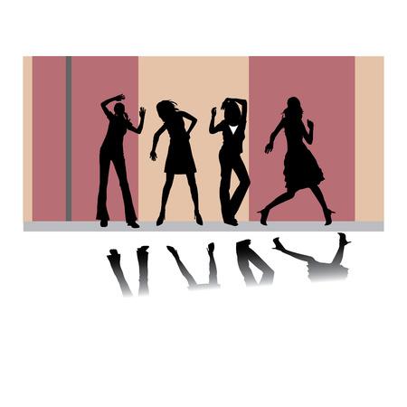 Set of disco girls vector silhouettes Stock Vector - 4254366