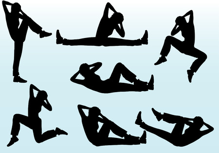 Woman aerobic exercising vector silhouettes