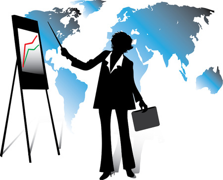 Business woman standing, showing document with chart on a whiteboard and explaining the business strategy Vector