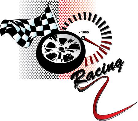 d�part course: Racing illustration avec drapeau, la jante et tachym�tre
