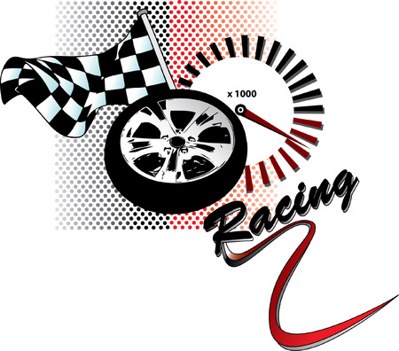 Racing illustration with flag, rim and tachometer